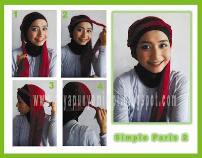 Cara Memakai Jilbab Paris Simple 2