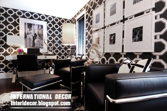 Black and white wallpaper for interior design