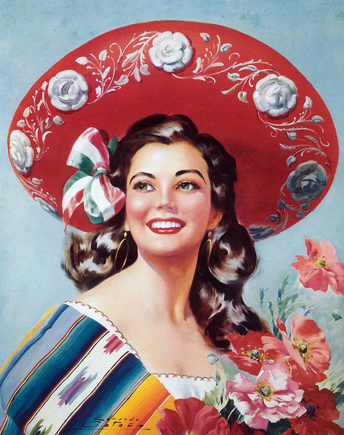 vintage mexican girl make your poster in the mexican interior in a ...