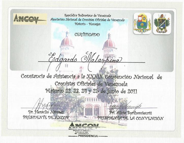 XXIX  CONVENCIÓN NACIONAL DE CRONISTAS OFICIALES DE VENEZUELA