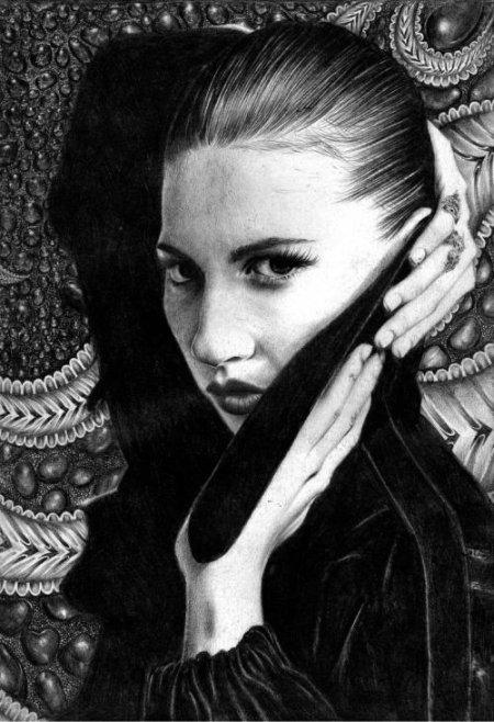 T.S. Abe desenhos a lápis hiper realistas retratos famosos Mia Wasikowska