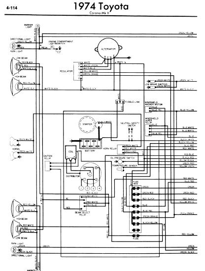 toyota corona mark ii 1974 wiring diagrams