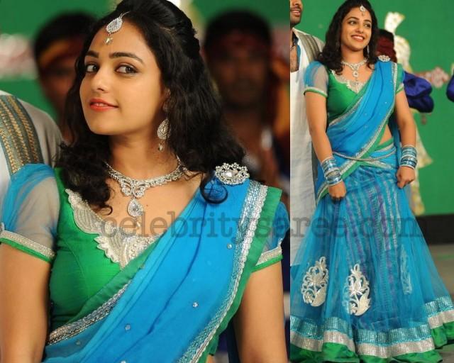 Nitya Menon Designer Half Sari
