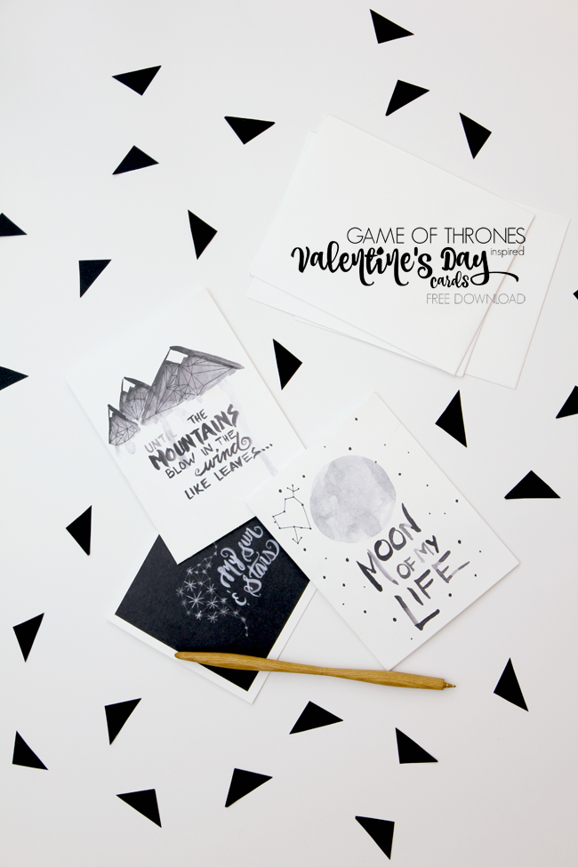 Game of Thrones Inspired Watercolor Valentine's Day Cards Free Download