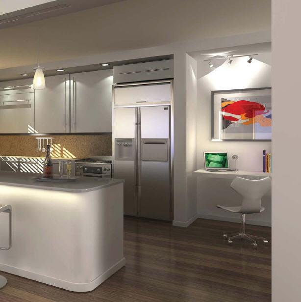 Home office renovation contractor condo kitchen design ideas - Modern kitchen for small condo ...