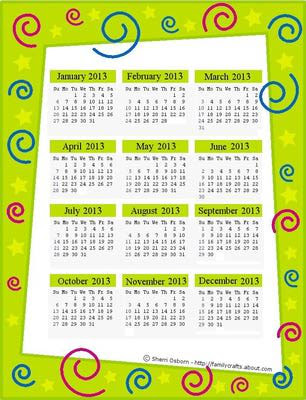 calendário 2013 para imprimir - verde limão