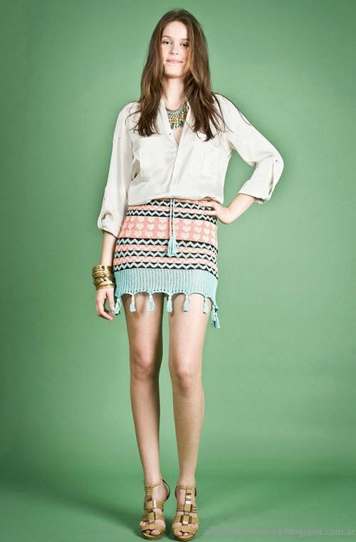 Moda Tejidos verano 2014. Mini faldas Agostina Bianchi primavera verano 2014.