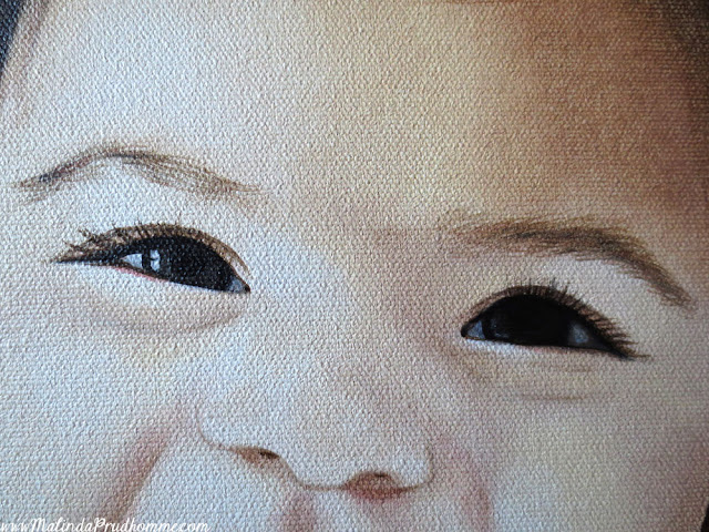 Art, artist, artwork, painting, portrait, portrait painting, baby, baby portrait, baby painting, baby art, custom, commission, toronto, toronto artist, toronto portrait artist, malinda prudhomme, realism, mixed media, oil painting, acrylic paint, little girl