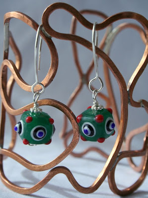 daphne: sterling silver, lampwork glass earrings :: All Pretty Things