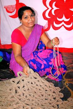 Rural woman working on Jute Mats