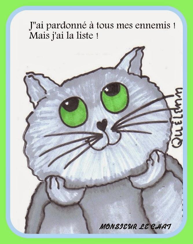 le pardon dessin, dessin de chat, humour, pardonner