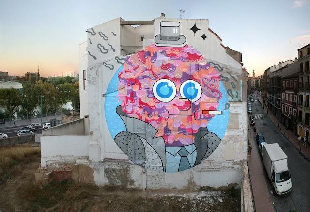 """Mr Beef"" Street Art By GR170 In Zaragoza, Spain For Asalto Urban Art Festival."
