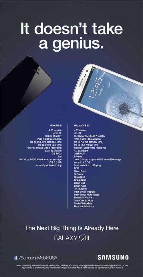 iphone 5 vs samsung galaxy s3 official ad