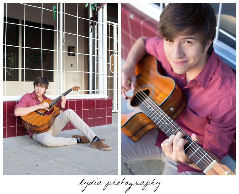 Senior guy playing quitar at Forest Lake Christian senior lifestyle portraits in Rocklin, California