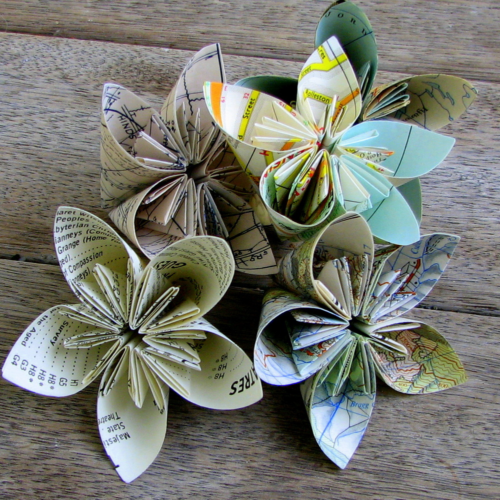 Papervine map folded flowers plus tutorial for How to make paper crafts