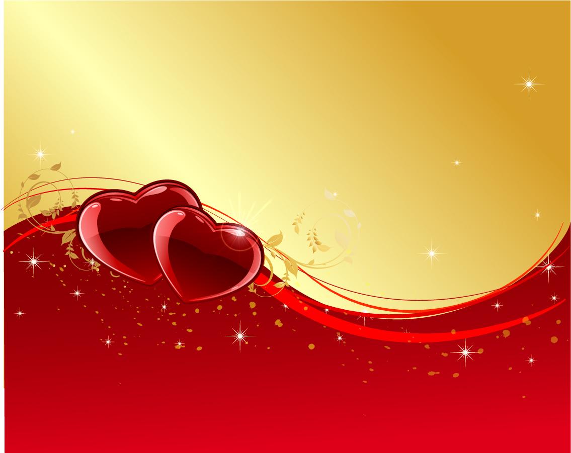 曲線に沿った光るハートの背景 Heart Valentine day background イラスト素材