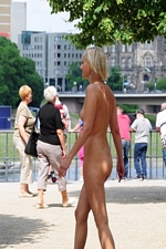 Pretty blonde exhibitionist Linda roams public streets totally naked