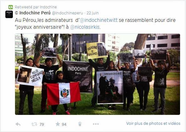 Indochine y Nicola Sirkis, reciben con buenos ojos el saludo de sus admiradores peruanos