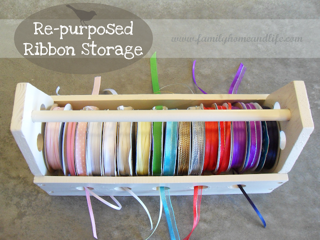 diy re-purposed ribbon storage
