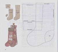 Moldes de meias e botas de natal para artesanatos