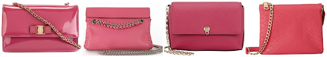 Three of these pink chain strap crossbody bags are from designers from $680 to $1,350 and one is from Steve Madden on sale for $27. Can you guess which one is the more affordable bag? Click the links below to see if you are correct!