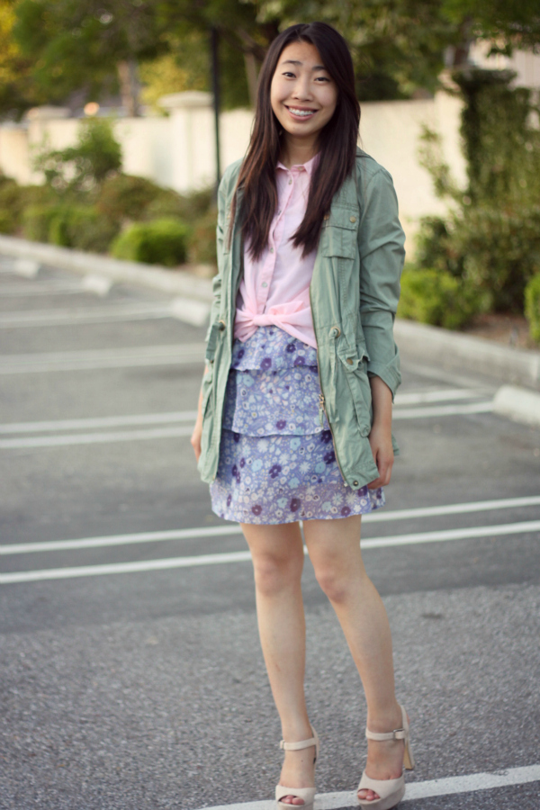floral dress and cargo jacket