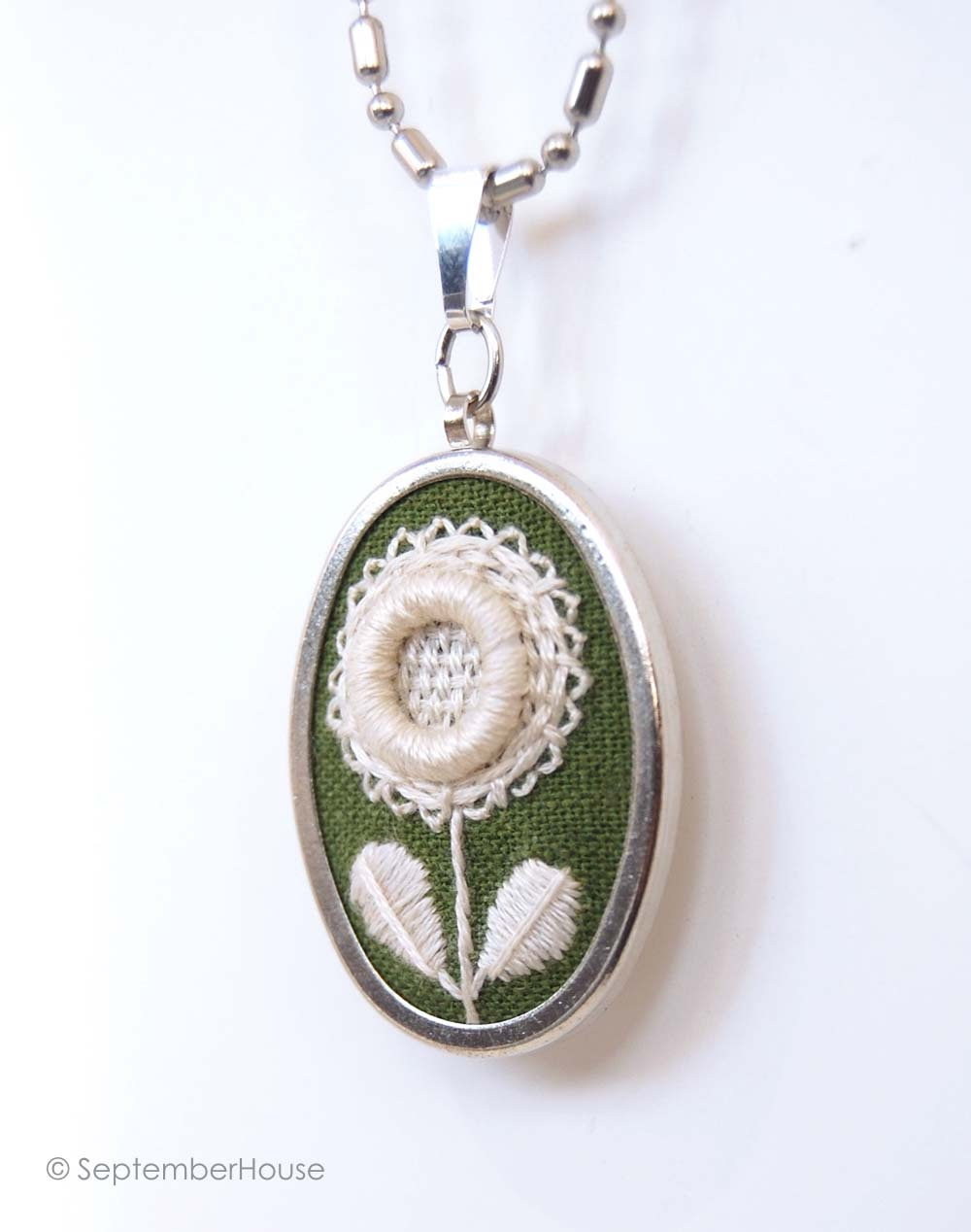 septemberhouse embroidery handmade pendant necklace