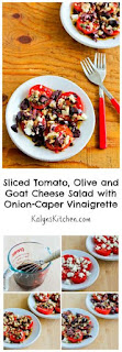 Sliced Tomato, Olive and Goat Cheese Salad with Onion-Caper Vinaigrette [from KalynsKitchen.com]
