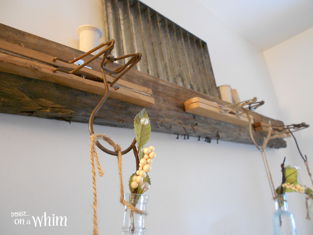 Vintage Hanger with Bottle Bud Vases and Pallet Wood Shelf Ledge | Vintage Farmhouse Bathroom Makeover | Denise on a Whim