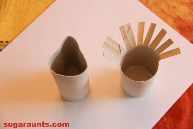 Recycled Paper Roll Turkey Stamp Craft