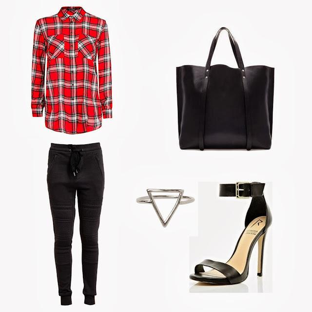 Mango tartan shirt, Zara bag, Phillip Lim biker sweatpants, River Island heels, Triangle ring, trendy, 2013 fashion trends, plaid shirt, tartan shirt