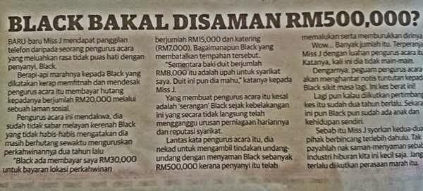 Black Disaman RM500 Ribu, info, terkini, hiburan, artis, Black Mentor, gossip,