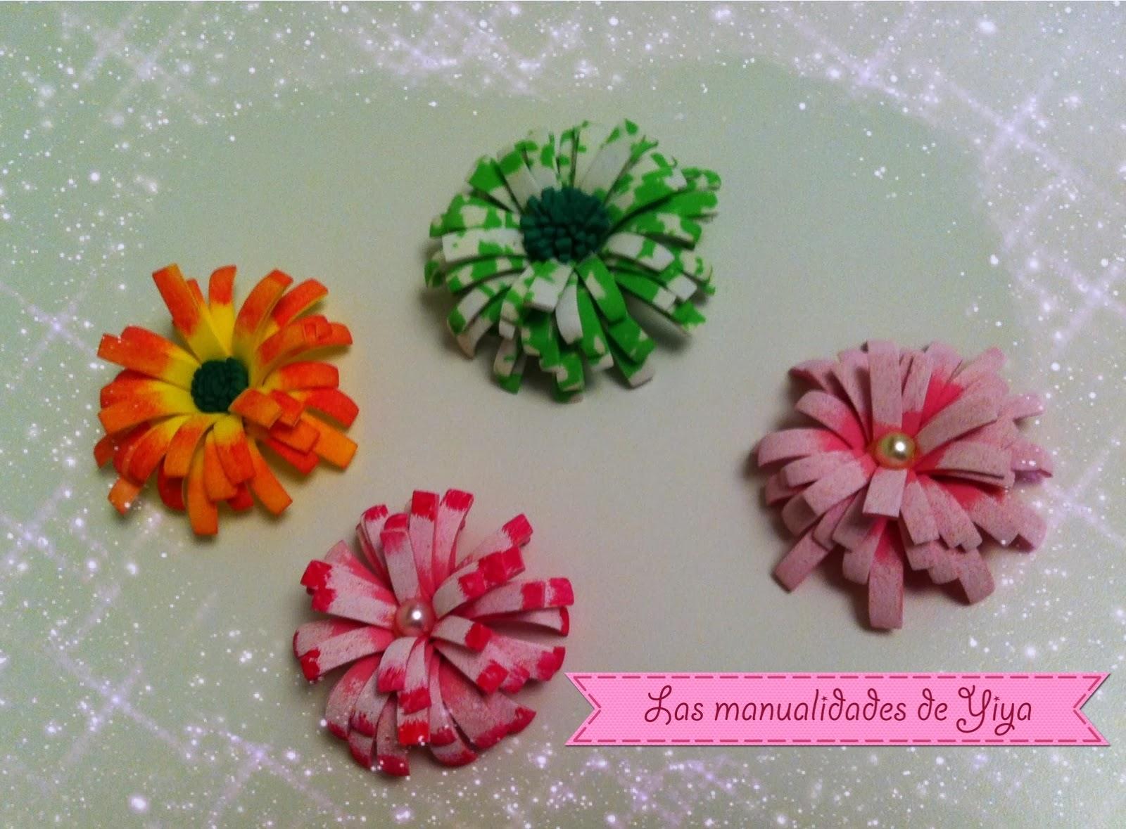 Las manualidades de yiya flores hechas con goma eva - Flores con goma eva ...