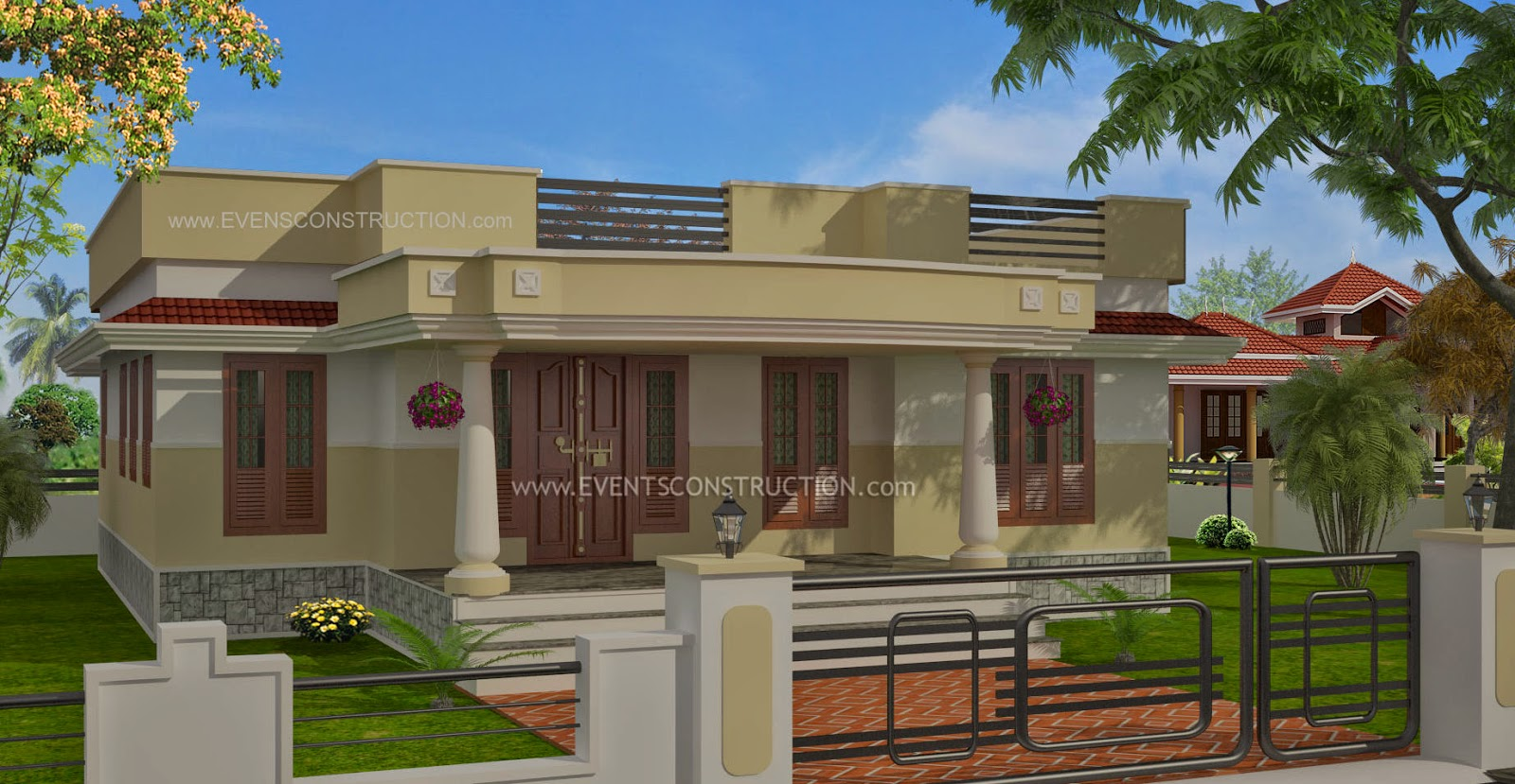 Evens construction pvt ltd single floor house flat roof for Flat roof elevation