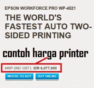 Gambar detail harga printer epson