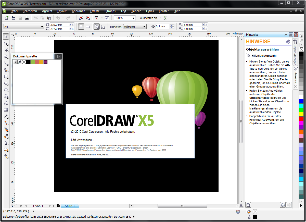 CorelDRAW X5 full screenshot