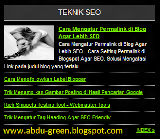 Widget Recent Post Per Label dengan Satu Thumbnail