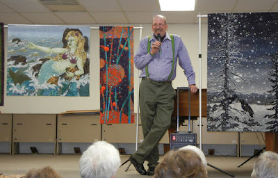 Thom Atkins, quilter, beader, artist gives a lecture about beaded quilts
