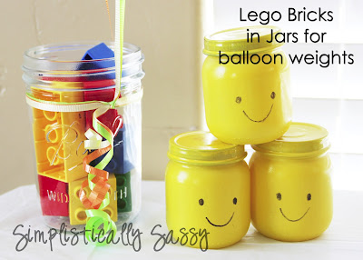 Jars and Legos as balloon weights