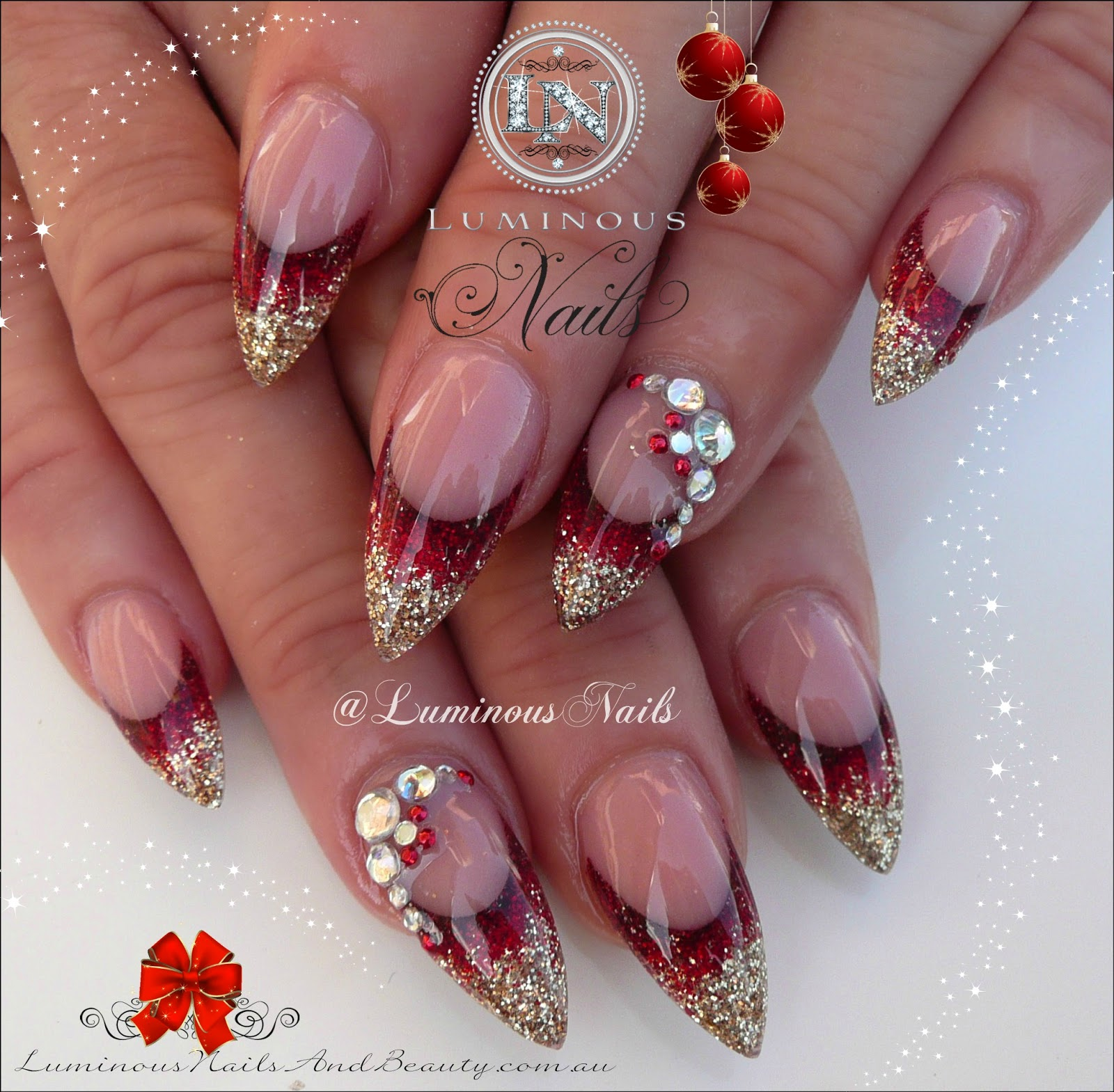 Modern Red Glitter Nail Designs Pics Pictures