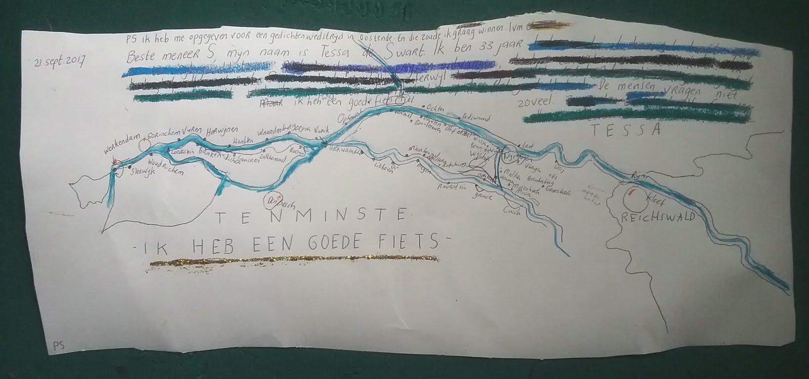 landkaart voor fietstocht