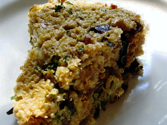 Mushroom and Goat Cheese Quinoa Cake