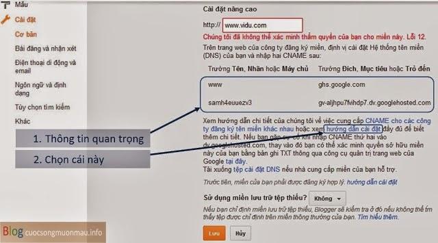 Hướng dẫn cài đặt tên miền cho blogspot