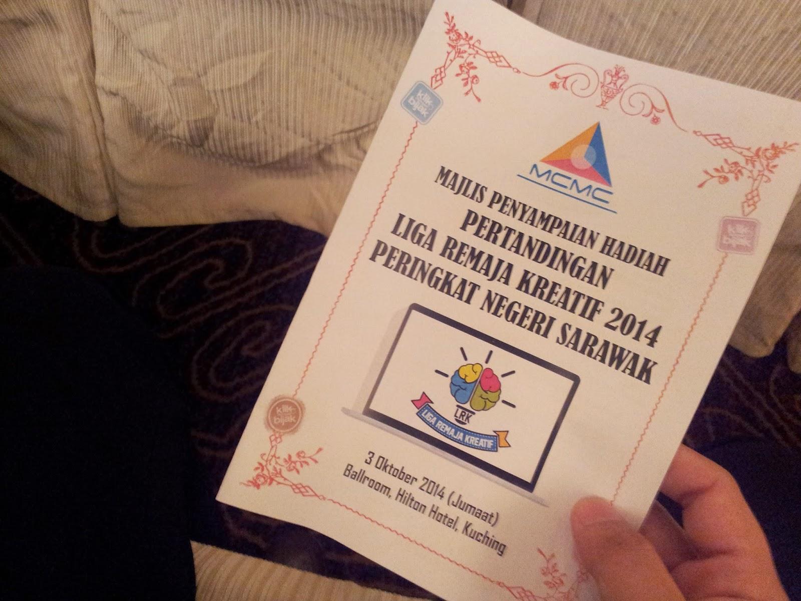 majlis penyampaian hadiah bagi Liga Remaja Kreatif 2014 untuk Zon Sarawak