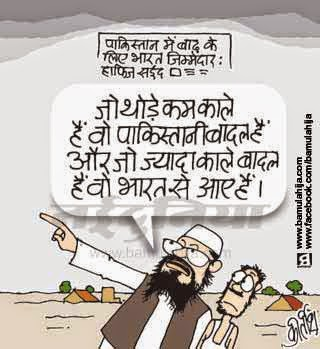 india pakistan cartoon, hafiz saeed cartoon, flood