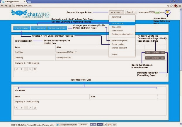 Chatwing Dashboard Page