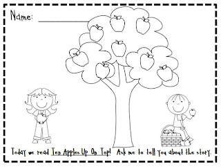 ten apples up on top coloring pages kindergarten at heart ten apples up on top and freebie