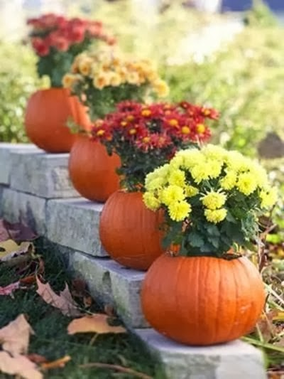 Pumpkin Flower Pot Idea