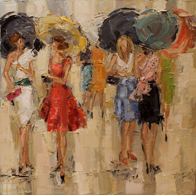 kathryn morris trotter, www.kathryntrotterart.com, soiree II, oil on canvas, fashion painting, fashion ladies with umbrellas