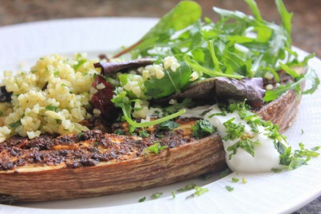 spicy aubergine with bulgar wheat salad